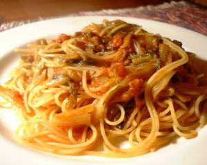 冬になったら白菜とトマトのスパゲッティ