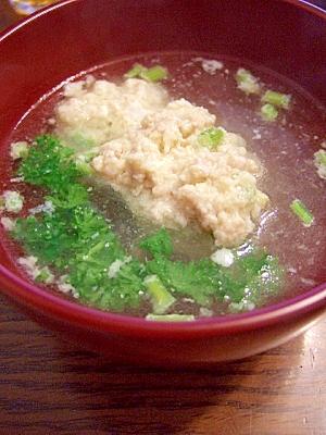 夏バテ対策パセリの茎しょうが入り鶏肉団子入りスープ