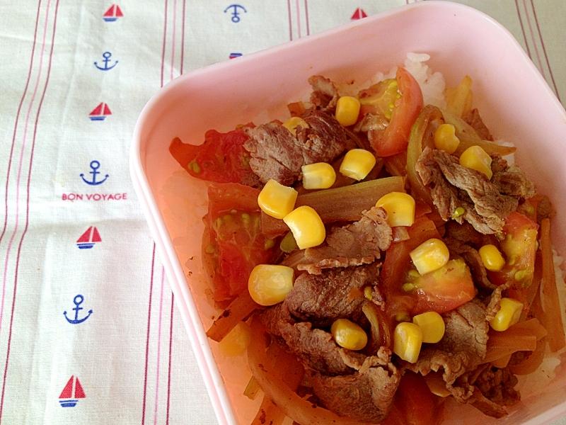牛肉とセロリの中華風トマト炒めどん。