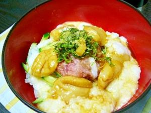 ウマ簡単(/・ω・)/ネギトロとホタテのトロトロ丼