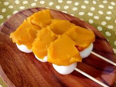 かぼちゃ餡のせ☆豆腐団子