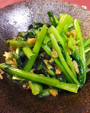 小松菜の干し海老ネギの炒め物