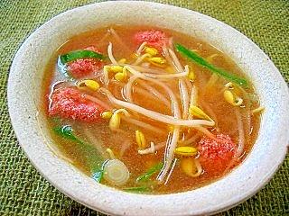 明太子と子大豆もやしの生姜スープ