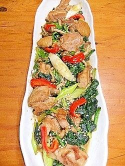鶏肉とほうれん草の胡麻味噌炒め