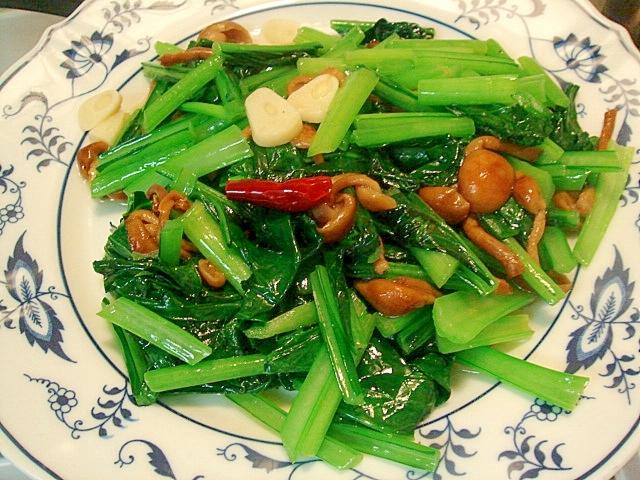なめこと小松菜のペペロンチーニ