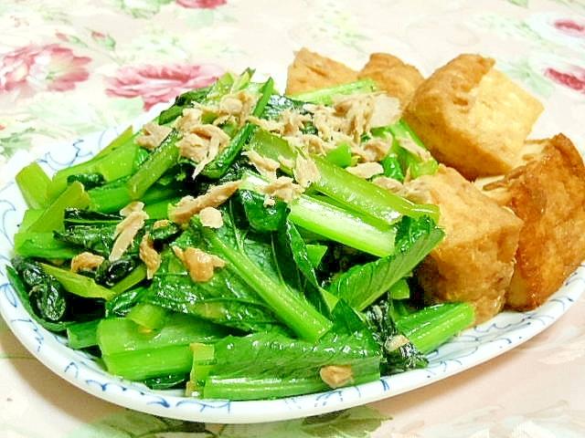 ダシダde小松菜と厚揚げとツナの炒め物