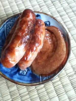 バーベキュー風ソースdeソーセージのグリル焼き