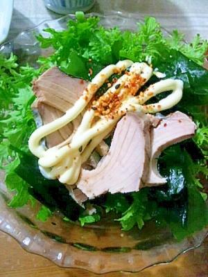 わさび菜と、なまりぶしのサラダ