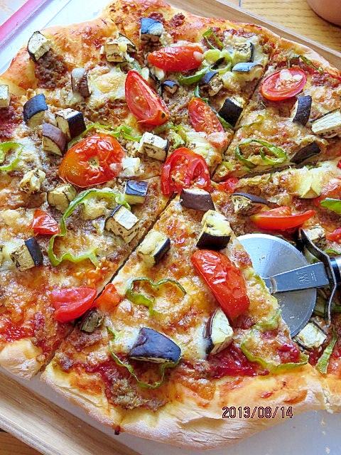 茄子&トマトのキーマカレーピザ