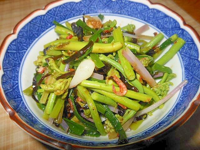 旬の食~のびる(野蒜)+わらびの塩昆布和え