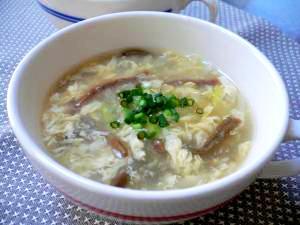 ダシダで卵とゼンマイのスープ