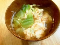 キャベツと卵のお味噌汁♪