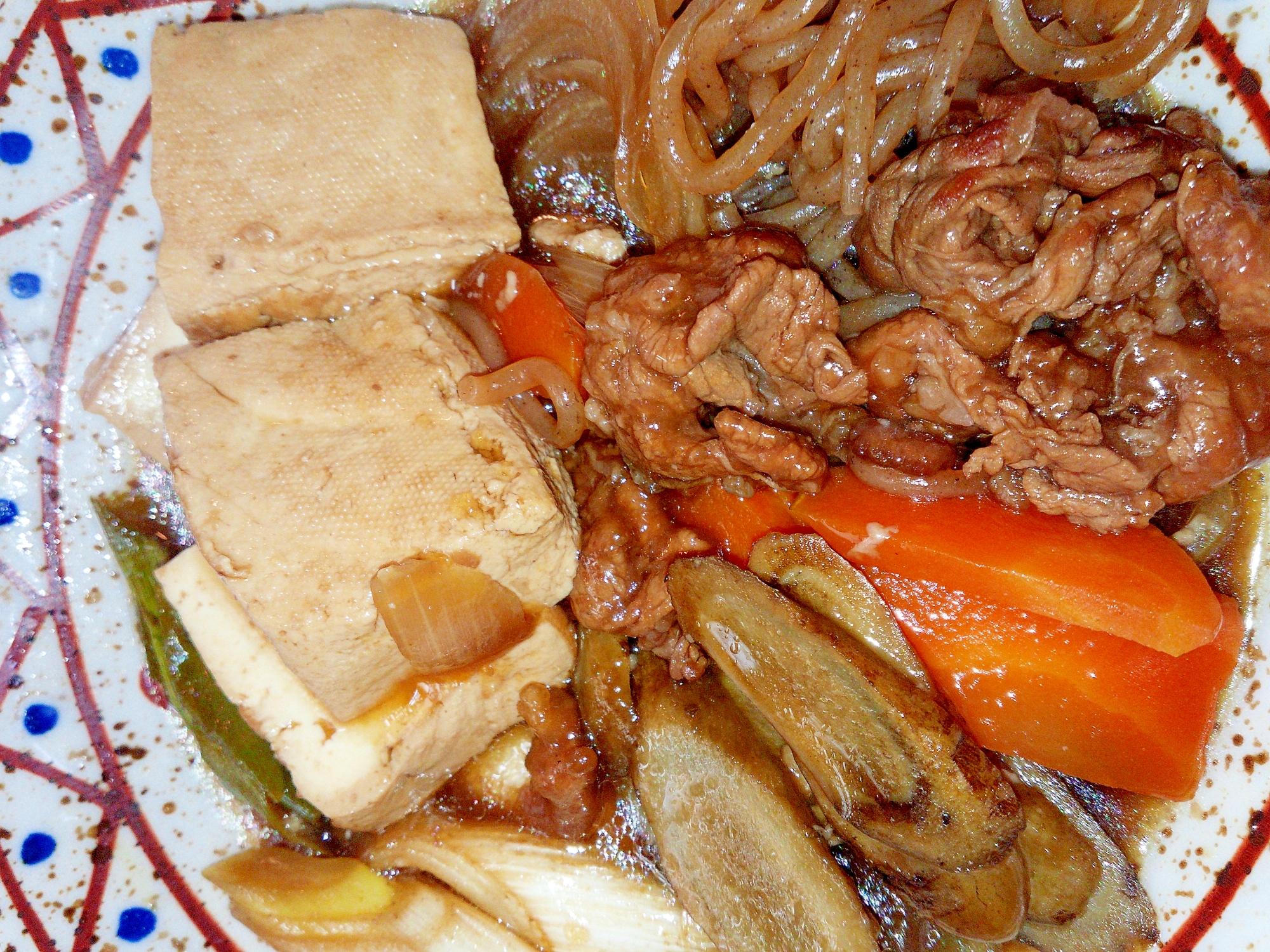 ご飯に合う!本格的な居酒屋の味!すき焼き風の肉豆腐