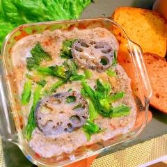 菜の花とモチモチ蓮根の蕎麦粉豆乳グラタン