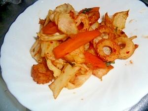 ちくわと野菜のキムチ炒め