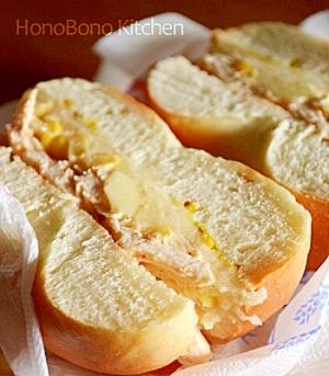マッシュポテトとチキンのベーグルサンド