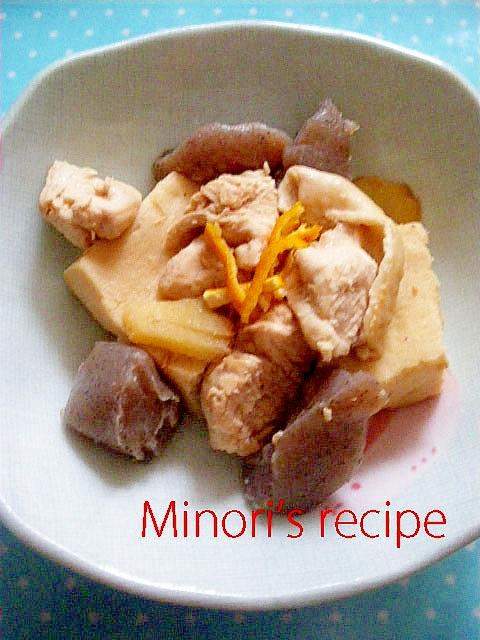 【みかんの皮で風味UP】鶏肉高野豆腐含め煮♪