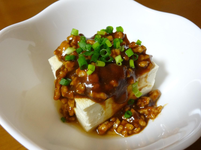 豆腐の肉味噌あんかけ