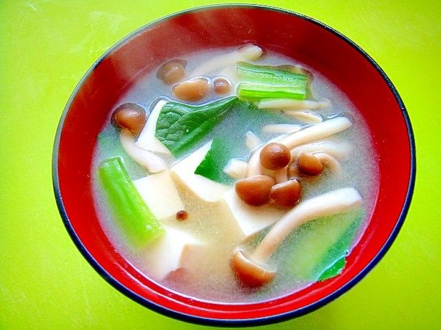 豆腐としめじ小松菜の味噌汁