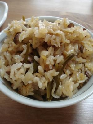 切干大根とレンズ豆の炊き込みご飯