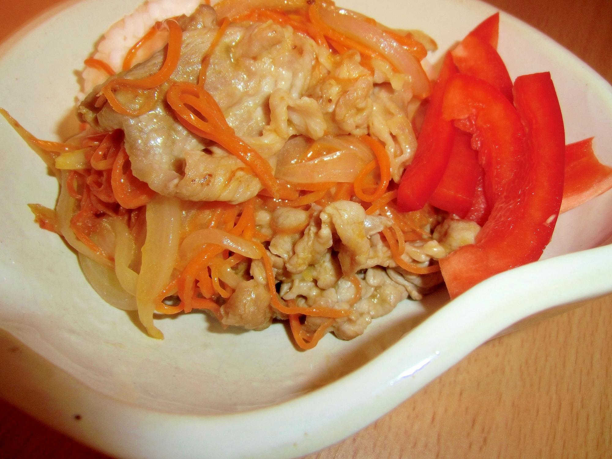 豚肉とニンジンの昆布茶マヨ炒め丼
