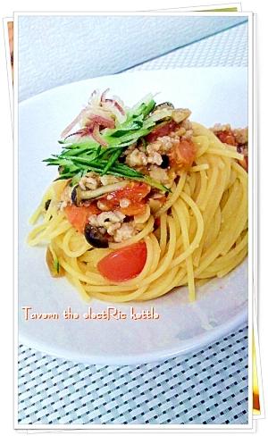 夏野菜と金山寺味噌のパスタ
