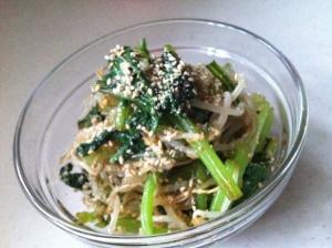 青菜とモヤシの薬味ダレ和え