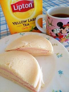 レンチン☆ホットケーキミックスでハムサンド