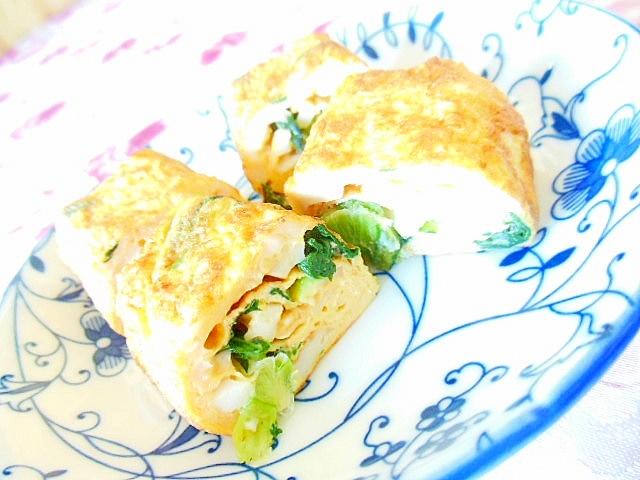 竹輪と小松菜とチーズの卵焼き