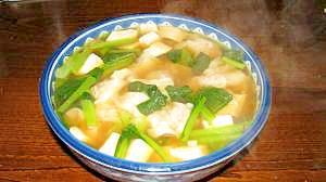 小松菜のワンタンスープ