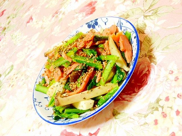 小松菜とSサーモンとエリンギのガリバタ炒め