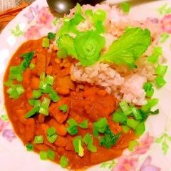 鶏むね肉と白いんげん豆の林檎カレーライス