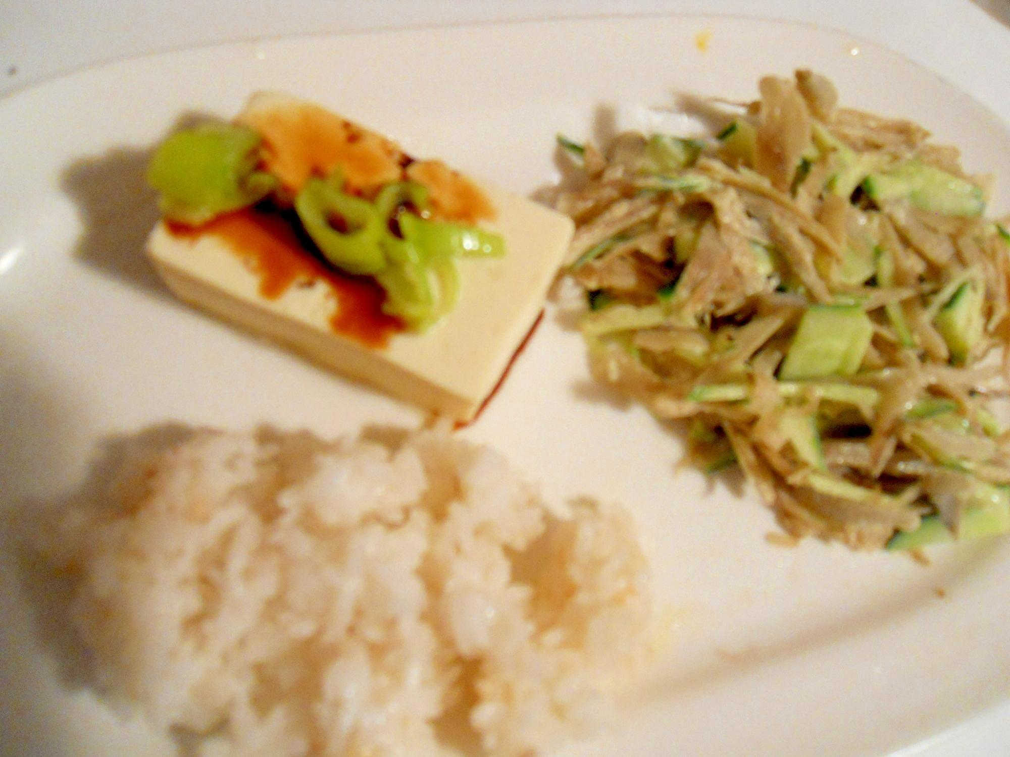 牛蒡とキャベツサラダでプレートご飯