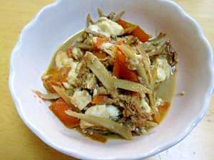 おかずに!ツナと根菜、きのこの炒り豆腐