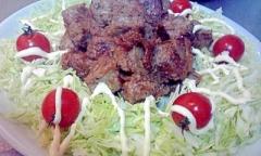 冷凍の成型肉でも美味しいサイコロステーキ生姜焼き♪