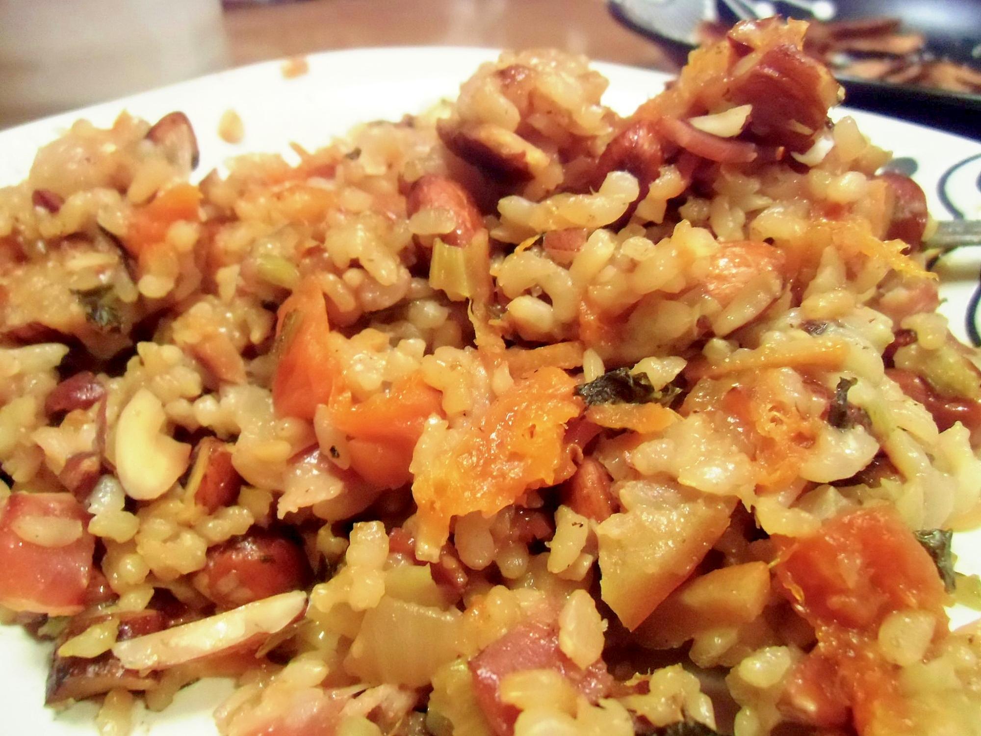 オレンジとアーモンドの玄米スタッフィング