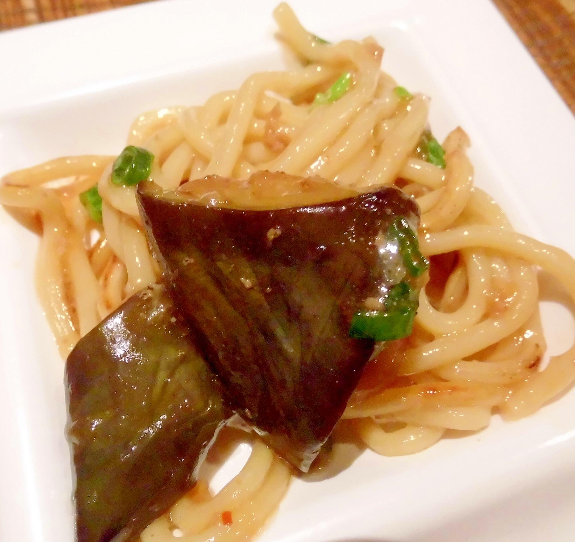 松山長なすとひき肉のピリ辛麺