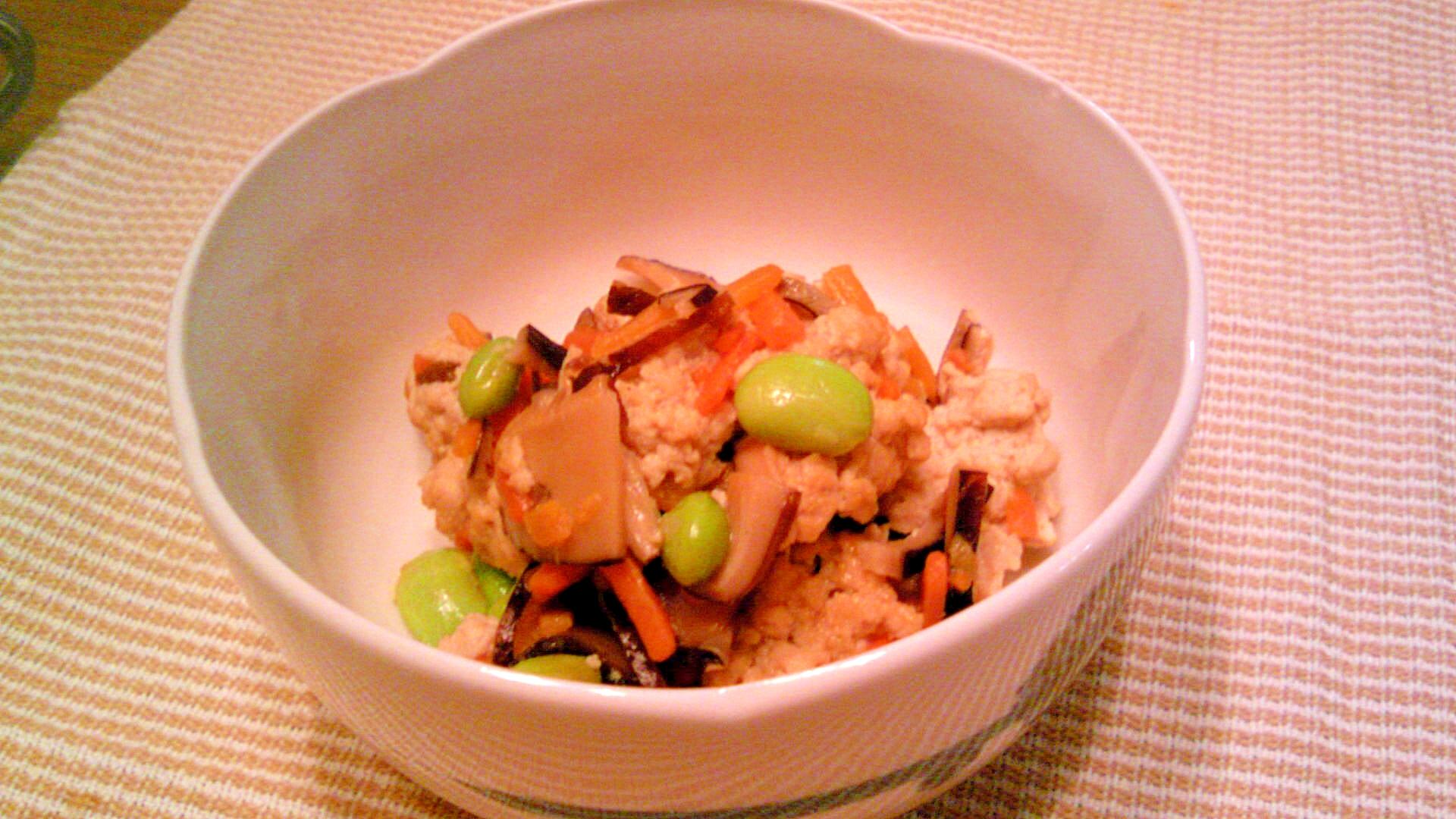 高野豆腐粉で炒り豆腐