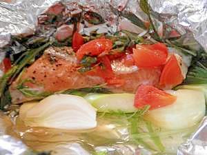 鮭と色々野菜の和風ホイル焼き