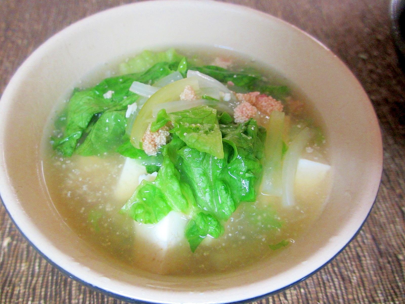 豆腐とレタスの明太スープ