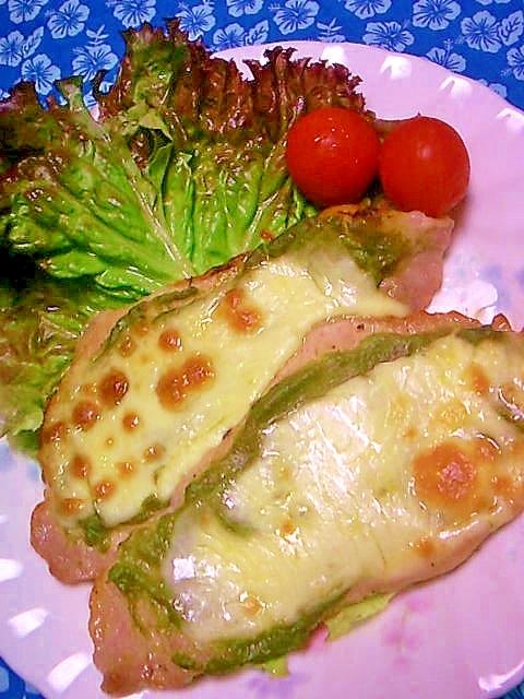豚肉のアボカドソース、チーズ焼き