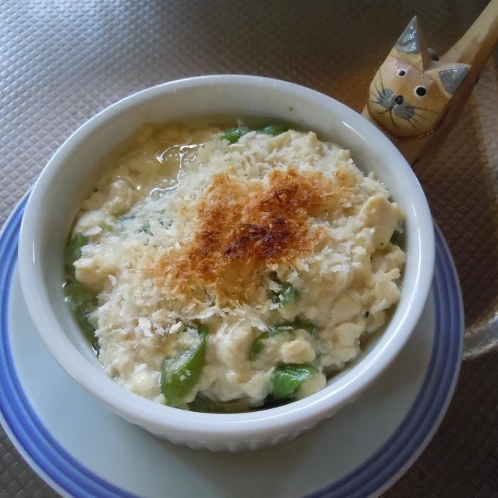 豆腐ソースとオイルサーディンのココット焼き