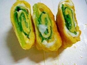 クルクル可愛い♪青梗菜の葉っぱ巻き卵焼き
