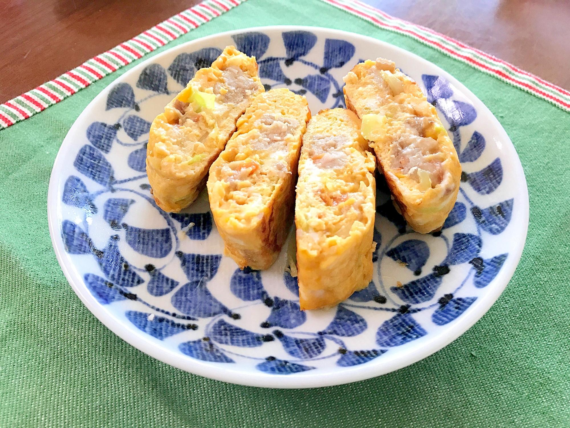 4. 朝ごはん・お弁当どちらにも「ハンバーグ入り卵焼き」