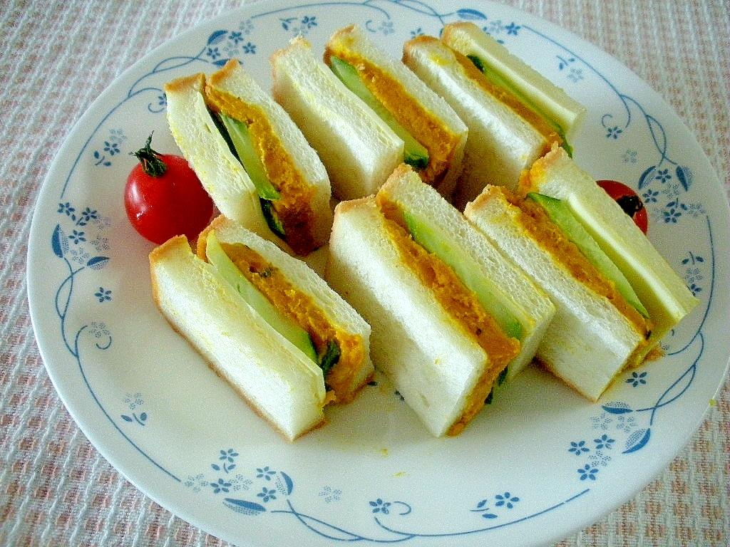 【お手伝いレシピ】カボチャときゅうりのチーズサンド