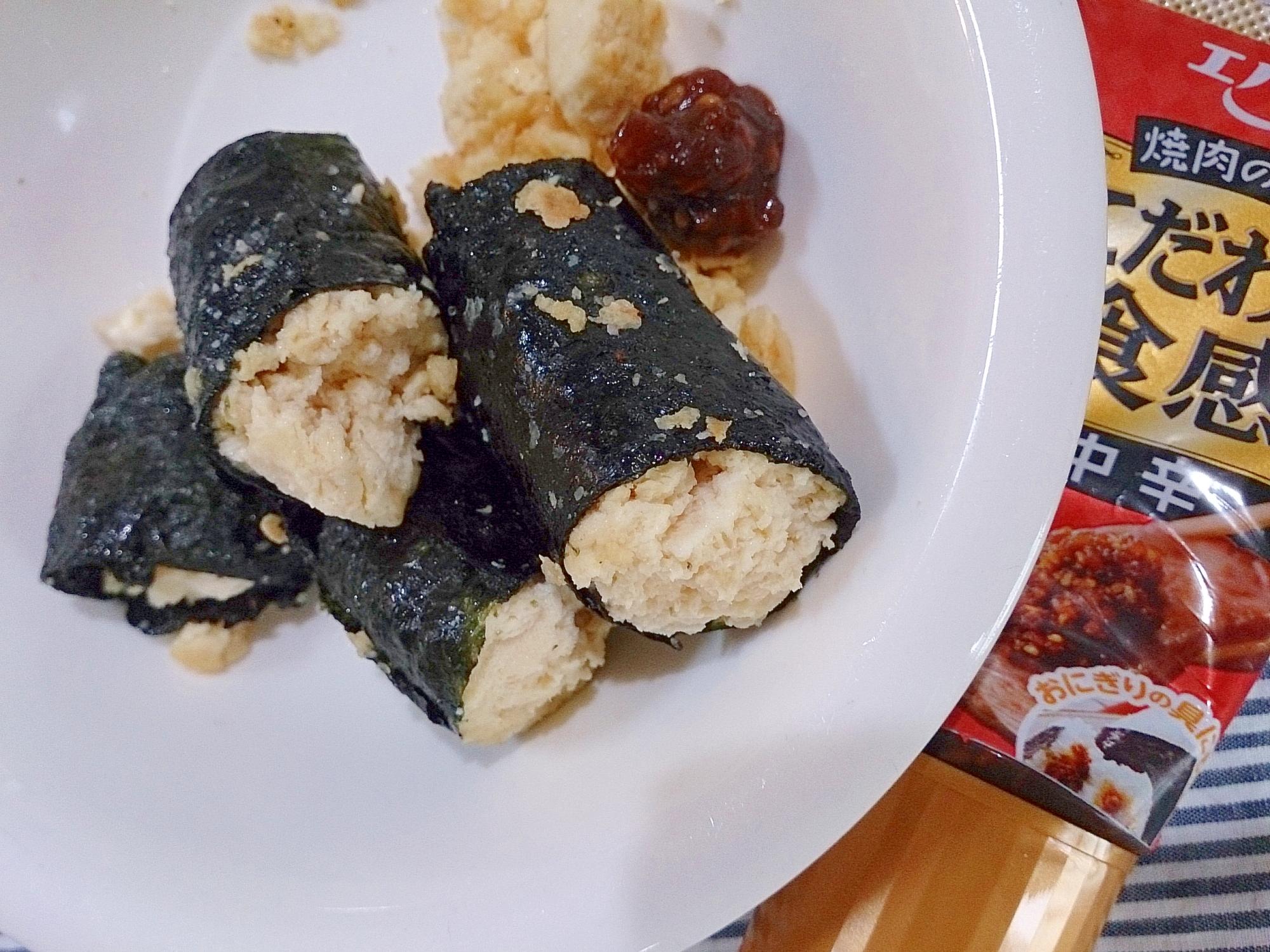 冷凍豆腐で海苔巻きの揚げ焼き風