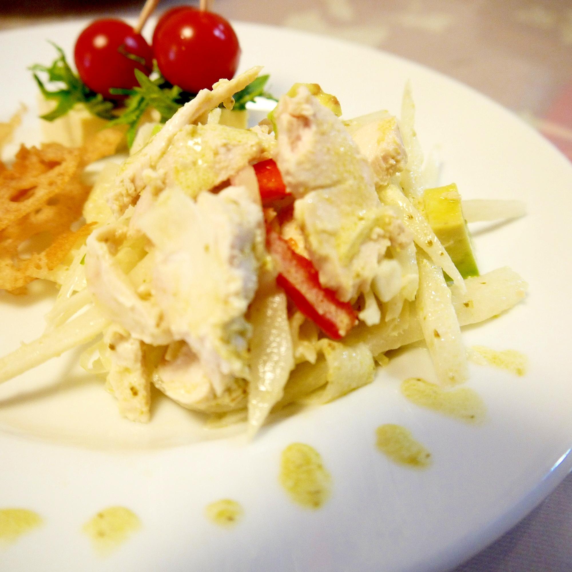 炊飯器で蒸し鶏のバジルサラダ