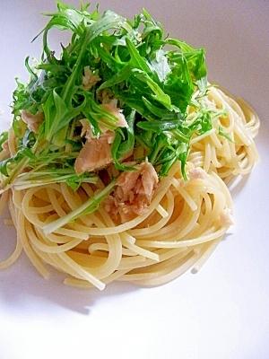 めんつゆで簡単味付け☆ 水菜とツナの和風パスタ レシピ・作り ...