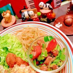 納豆とトマトと壬生菜のサラダ