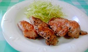 簡単ジューシー、鶏もも肉の薄切りで、スパイス焼き♪